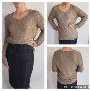 Apt 9 Rose Gold V-neck Sweater w Sequins